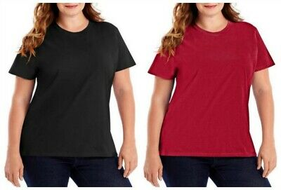 HANES WOMEN'S CREW NECK NANO T-SHIRT BLACK 3XLT
