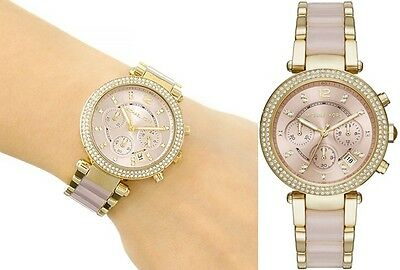 Michael Kors Parker MK6326 Gold-Tone Chrono, Rose Marble,  Wrist Watch for Women