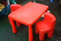 RED TABLE 2 CHAIRS