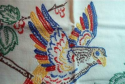VIBRANT RAINBOW PARROTS! VTG GERMAN PILLOW SHAM HAND EMBROIDERED BIRDS