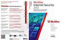 MCAFEE INTERNET SECURITY 2012- 3 USERS