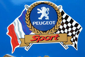 PEUGEOT SPORT Flags & Scroll classic car sticker 205 306 207 307 GTi Rallye etc