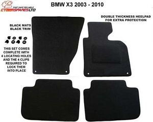 Bmw X3 2003 - 2010 Fully Tailored Car Mats + 4 clips