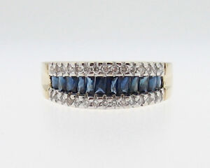 French-Cut-Natural-Blue-Sapphires-Diamonds-Solid-14k-Gold-Ring-585-Band