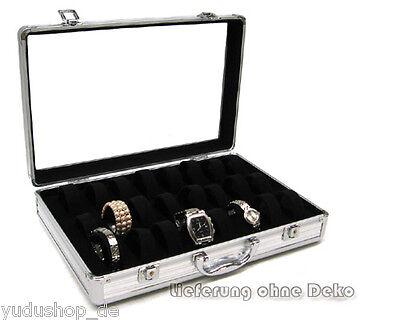Uhrenkoffer Schaukasten für 24 Uhren/Armbände,schwarz
