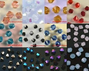 wholesale-100pcs-Clarity-glass-crystal-bicone-spacer-beads-4mm-14-color-choose