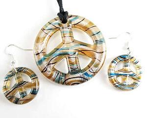 Polychrome Peace Sign Lampwork Murano Glass Pendant Necklace/ear