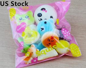 10pcs Jumbo Medium Mini Random Squishy Soft Panda Bread Cake Buns Phone Straps