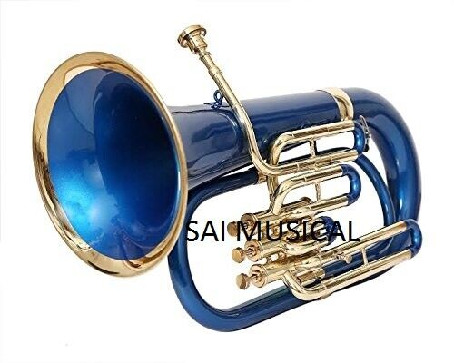 WEEKEND SALE SAI MUSICAL EUPHONIUM Bb PITCH BLUE LACQUER + BRASS WITH FREE BAG