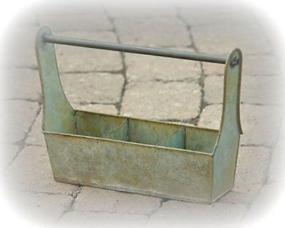New Country Primitive Shabby Green Metal Tool Box Chic Utensil Caddy Basket
