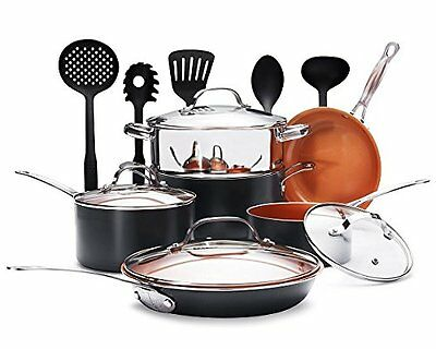 Gotham Steel 15-Piece Nonstick Copper Complete Cookware Set with Utensils - NEW!
