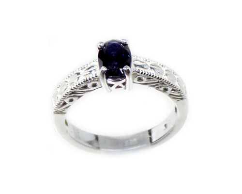 Antique 19th Century ¾ct Dark Blue Sapphire in Sterling Silver Ring