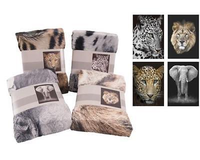 Tierdecke XL 150 x 200 cm Löwe Elefant Leopard Tiermotive Wohndecke Kuscheldecke