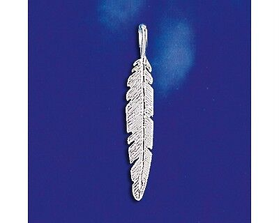 Sterling Silver Eagle Feather Pendant Tribal Indian Design Italian Charm 925 -