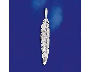 Sterling Silver Eagle Feather Pendant Tribal Indian Design Italian Charm 925 New