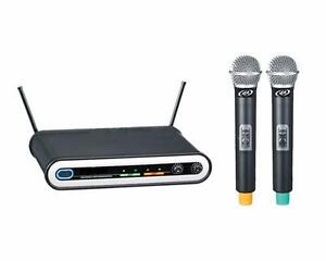 Acoustic Audio 96-0247 Wireless Dual UHF Microphone System  2 Handheld Microphone Great for Karaoke Night