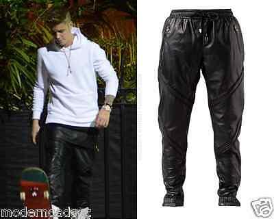 En Noir Pin Tuck BLACK LEATHER MEN Sweat  pants (SEEN ON JUSTIN BIEBR)  M