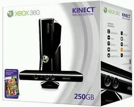 Xbox 360 S 250gb with Kinect and wireless wheel