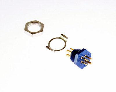 1x 4 Pin Male Miniature Hexagonal Panel Connector Plug Clip Hex Nut 126 Series