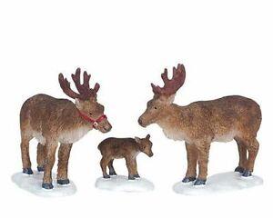 Lemax Decoration 'Reindeer', Christmas Cake Decorating Animals,Set of 3 Figures