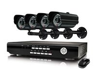 4/8ch Dvr and 4 cameras CCTV HD System with installation