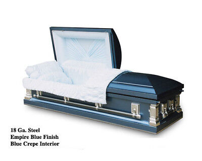 Brand New 18 Gauge Steel Coffin Casket - Empire Blue Finish