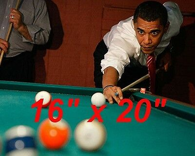 "President Obama~Playing Pool ~Billiards~Shooting Pool~Poster~Photo~ 16"" x  20"""