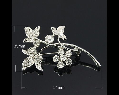 Wholesale Bulk Lot 5 Clear Rhinestone Flower Blossom & Vine Silver Tone Brooches