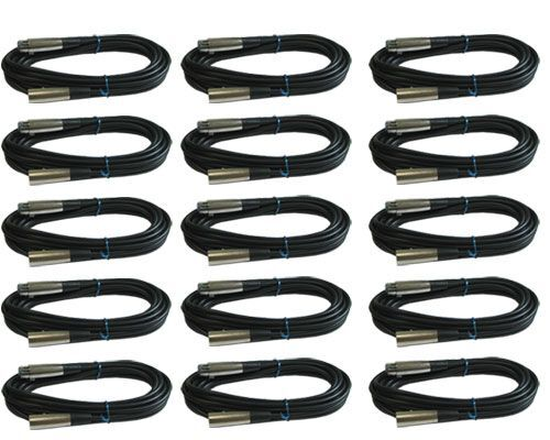 15 LOT PACK 6 ft foot 3 pin shielded XLR mic microphone audio extension cables