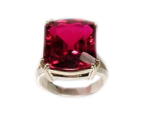 Handcut Gemstone 25ct Gorgeous Red Topaz in Sterling Silver Ring