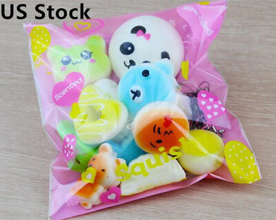 10pcs Jumbo Medium Mini Random Squishy Soft Panda Bread Cake Buns Phone Straps
