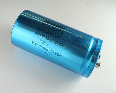 1 Pc Mallory Cgs Series 46000uf 10v Large Can Screw Terminal Capacitor 46000mfd