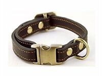Dog collar brown leather med