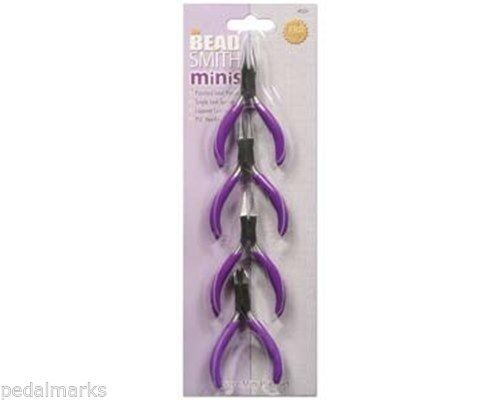 "4 Pc CRAFT Mini PLIERS Set ~ Round, Flat, Chain Nose + Side Cutter 3"" BeadSmith"