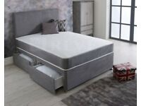 2 WEEK OLD KING SIZE DIVAN BASE & HEADBOARD & 4 DRAWERS