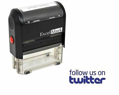 New Excelmark Follow Us On Twitter Self Inking Rubber Stamp A1539 Blue Ink