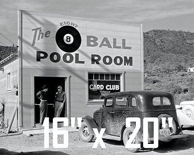 "Shooting Pool~Pool~Pool Hall~Billiards~Poster~16"" x 20"" Photo"