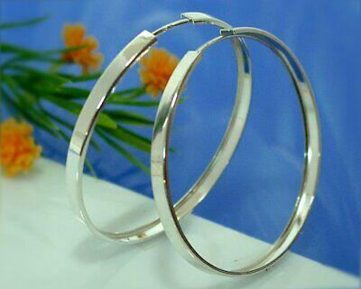Creolen Silber 925 Ohrringe 3mm breit Durchmesser 40mm Sterlingsilber Damen sc35