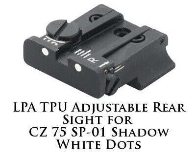 LPA TPU Adjustable Rear Sight for CZ 75 SP-01 White Dot (Cz 75 Sp 01 Adjustable Rear Sight)