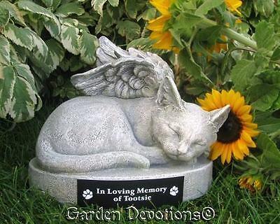KITTY CAT ANGEL PET MEMORIAL URN Garden Statue Grave Marker Stone PERSONALIZED