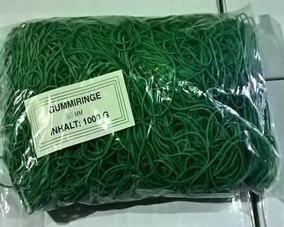 1 KG Gummiringe/Gummibänder grün, 60 mm Durchmesser
