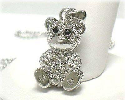 NEW RHINESTONE CRYSTAL TEDDY BEAR PENDANT NECKLACE WHITE GOLD PLATED  (Gold Plated Teddy Bear Necklace)