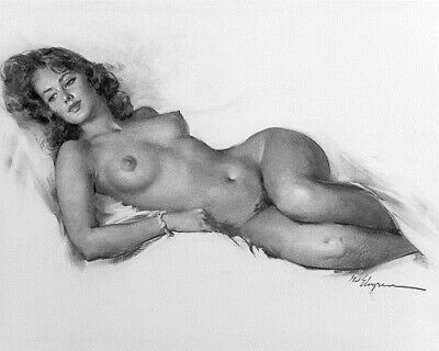 ELVGREN 8x10 PIN-UP GIRL ART PRINT-Girlfriend Nude Sketch Large Breasts Hips F1