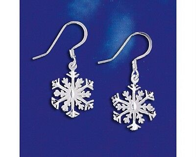 Sterling Silver Snowflake Earrings Winter Flake Snow Christmas Dangle 925 -