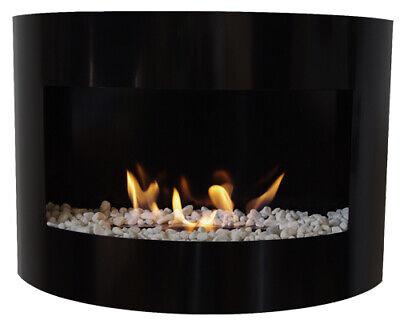 Bio Ethanol Fireplace RIVIERA DELUXE Black Wall Fire Place + Firebox 2L +Pebbles