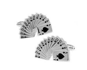 Highly polished Fanned Out Card Deck Men's Cufflinks