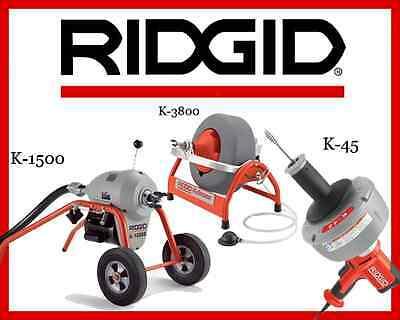 Ridgid K-1500 Sectional Machine 23707 K-3800 Machine 53117 K-45-1 Machine 36013