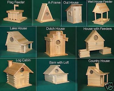 Bird House & Feeder  Kit  Sampler  10 styles  2 of ea. Hand made in USA AJ1100
