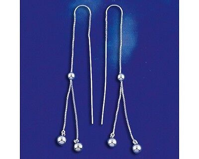 Sterling Silver Threader Bead Earrings Ear Thread Round Beads Solid 925 Italy