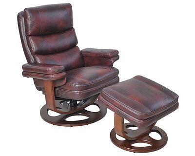 Barcalounger Bella II Genuine Plymouth Mahogany Leather Recliner and (Barcalounger Leather Recliner)